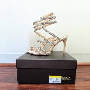 Badgley Mischka 'Peace' Crystal ankle wrap sandal